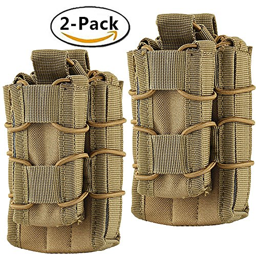 Hoanan Double Mag pouch, Tactical Molle Magazine Pouch Open-Top Single Rifle Pistol Mag Pouch Cartridge Clip Pouch Hunting Bag (2pack-Upgrade brown) (M14 Mag Pouches)