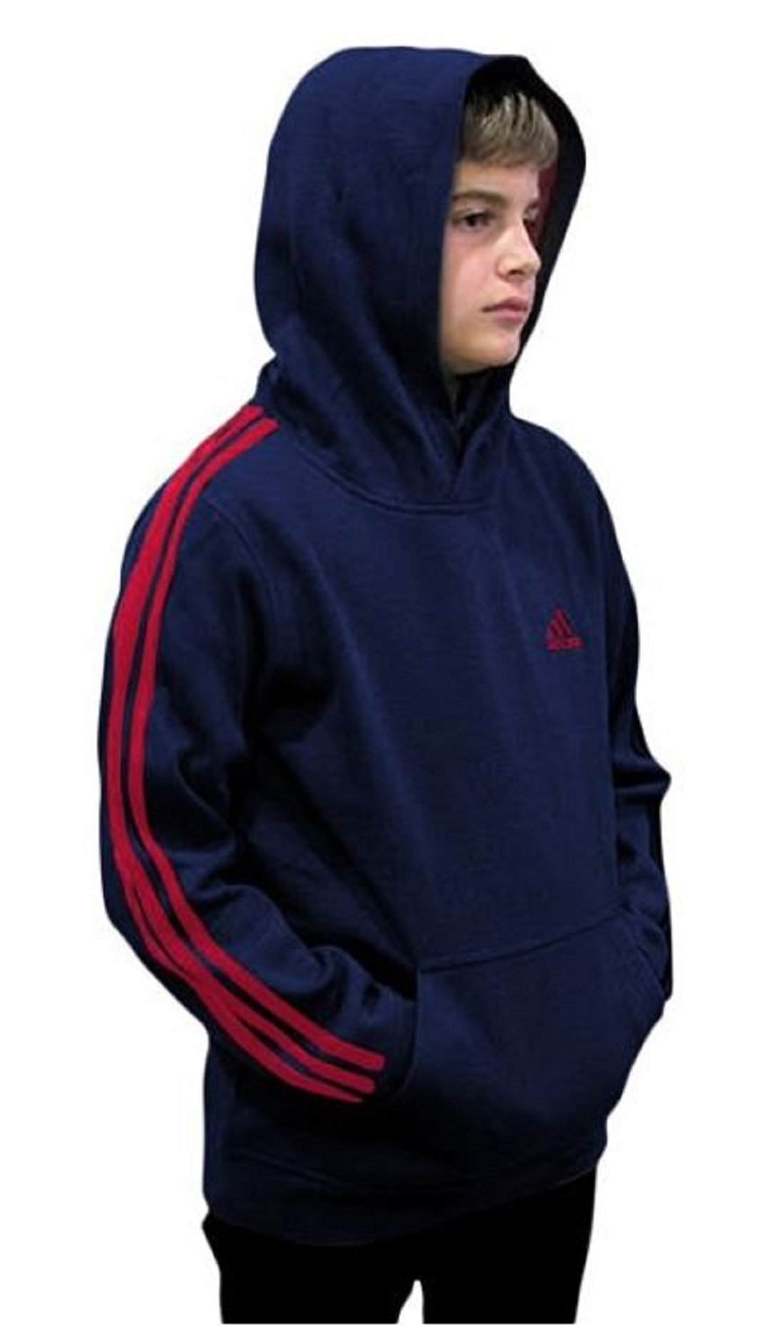 Outerstuff adidas Youth Fleece Collection (Youth Large 14/16, Fleece Pullover Hoodie, Navy/Red)