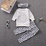 0-24M Baby Kid Cute Penguin Print T-Shirt + Pants + Headband Outfit Clothing Set