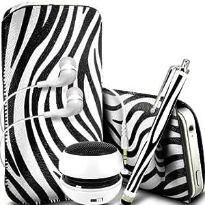 ONX3 Huawei Ascend P6S PU Leather Slip protectora Zebra de cordón en la bolsa del lanzamiento rápido con Mini capacitivo Stylus Pen, 3.5mm en auriculares del oído, mini altavoz recargable cápsula (Blanco y Negro)