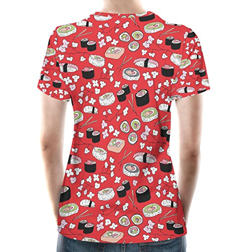 Sushi Cherry Blossom Women Cotton Blend T-Shirt Damen XS-3XL