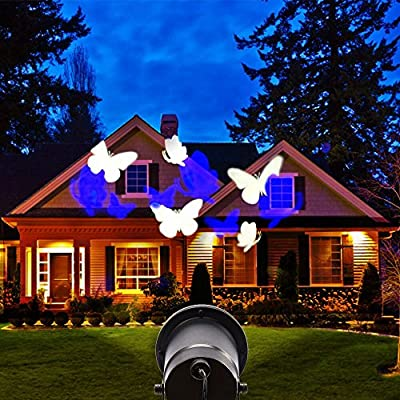 Landscape Projection Light, Hosyo Butterfly Motion LED Landscape Spotlights Patio Projector Lighting Wall Lamp for Christmas Holiday Home Wall Decoration Indoor Outdoor Blue and White