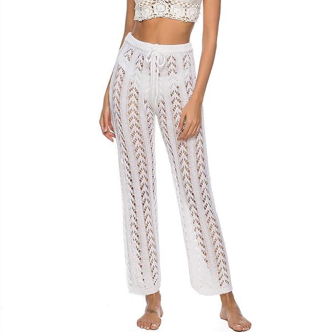 Sleep Bottoms Hot Women Boho Wide Leg High Waist Trousers Beach Long Loose Mesh Sheer Pants Sleepwear Special Buy