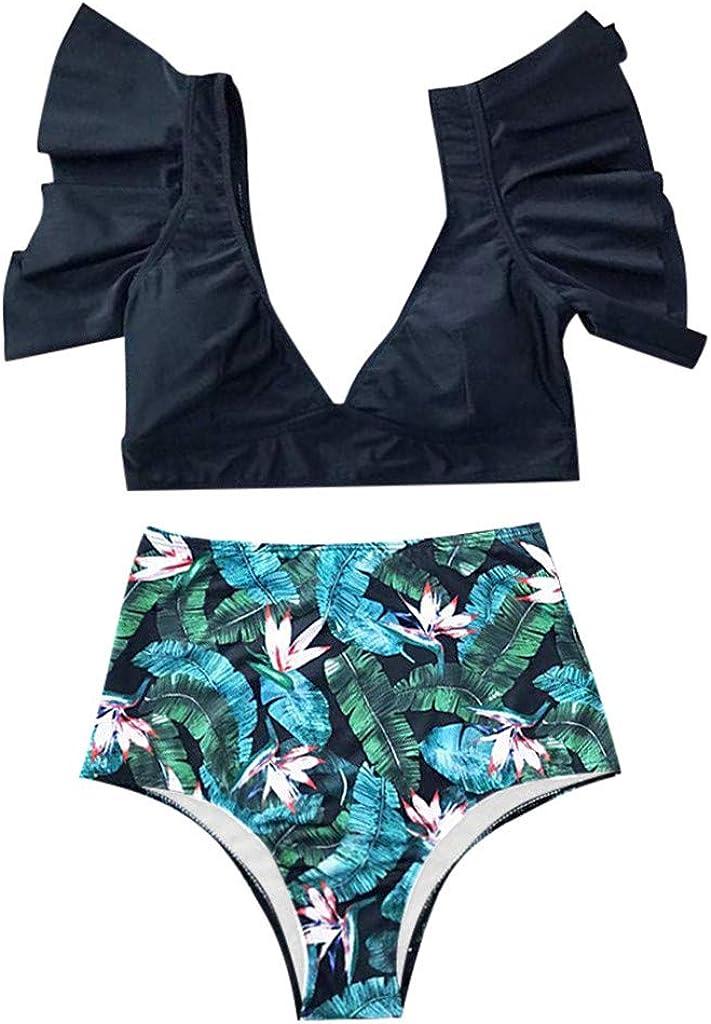 RINKOUa Womens High Waisted Bikini Set Two Piece Swimsuit Ruffle Triangle Bathing Suit