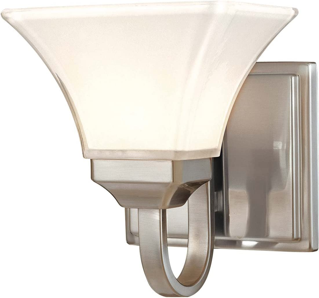 Minka Lavery Wall Sconce Lighting 6811-84, Agilis Glass Damp Bath Vanity Fixture, 1 Light, 100 Watts, Nickel