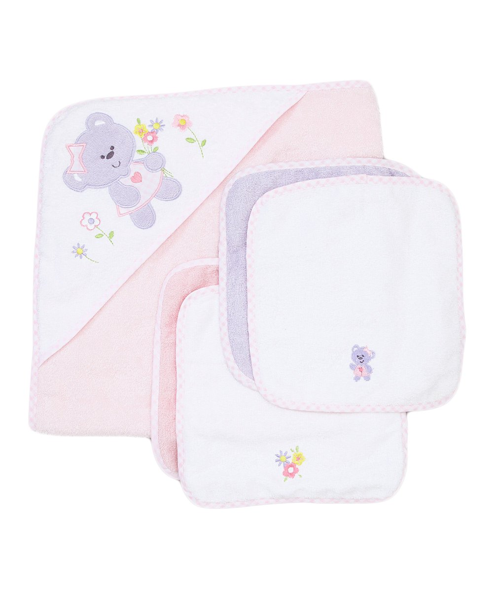 Amazon.com: Spasilk 100% Cotton Hooded Terry Bath Towel with 4 Washcloths, Bear Girl: Baby