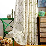 Cheap VOGOL(2 Panels Ultra Sleep Vines Embroidered Faux Linen Grommet Curtains for Living Room,Energy Efficient Window Treatment Panels,52 x 84 Inch, Grass Green