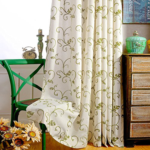 VOGOL(2 Panels Ultra Sleep Vines Embroidered Faux Linen Grommet Curtains for Living Room,Energy Efficient Window Treatment Panels,52 x 63 Inch, Grass Green (Vintage Linen Embroidered)