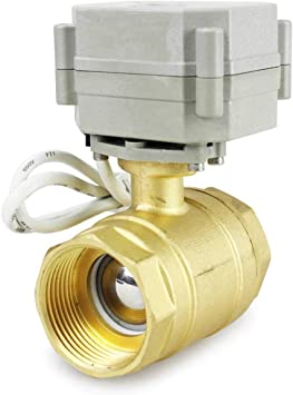 1//2 Inch HSH-Flo 2 Way 1//4 3//8 1//2 3//4 1 1-1//4 12VDC Brass On//Off CR2-01 2 Wires Control Electrical Motorized Ball Valve