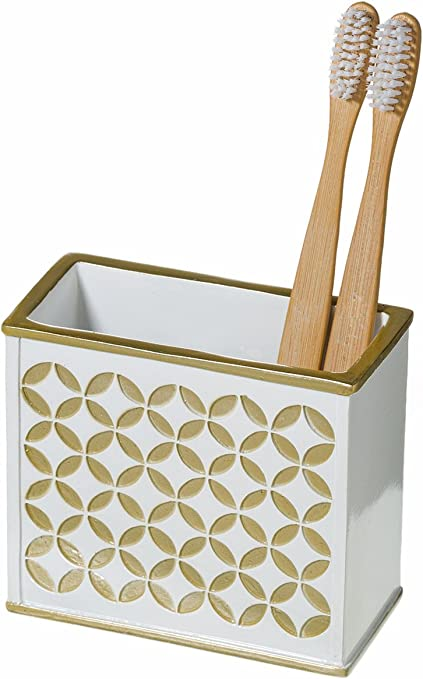 Amazon Com Diamond Lattice Bathroom Toothbrush Holder 4 5 X 2 2 X 4 Family Brush Toothpaste Cup Unique Partitioned Design Holds Multiple Standard Electric Toothbrushes For Elegant Bath Shower Décor Home Kitchen
