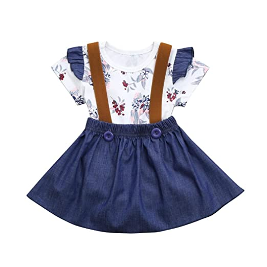 68979f54f2 Funic Infant Baby Girls Floral Print Rompers Jumpsuit Strap Denim Skirt Outfits  Set (6 Months