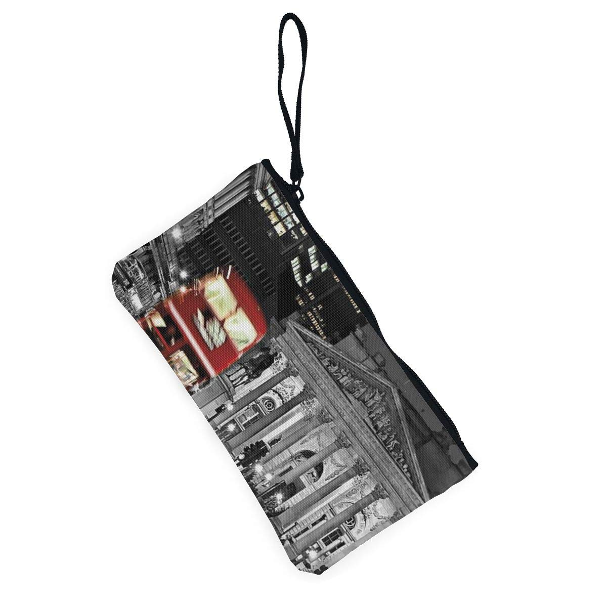 Canvas Cash Coin Purse,London Bus Print Make Up Bag Zipper Small Purse Wallets