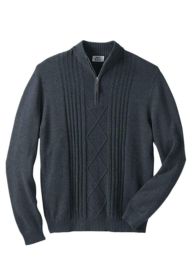 Liberty Blues Men's Big & Tall Shoreman's 1/4 Zip Cable Knit Sweater