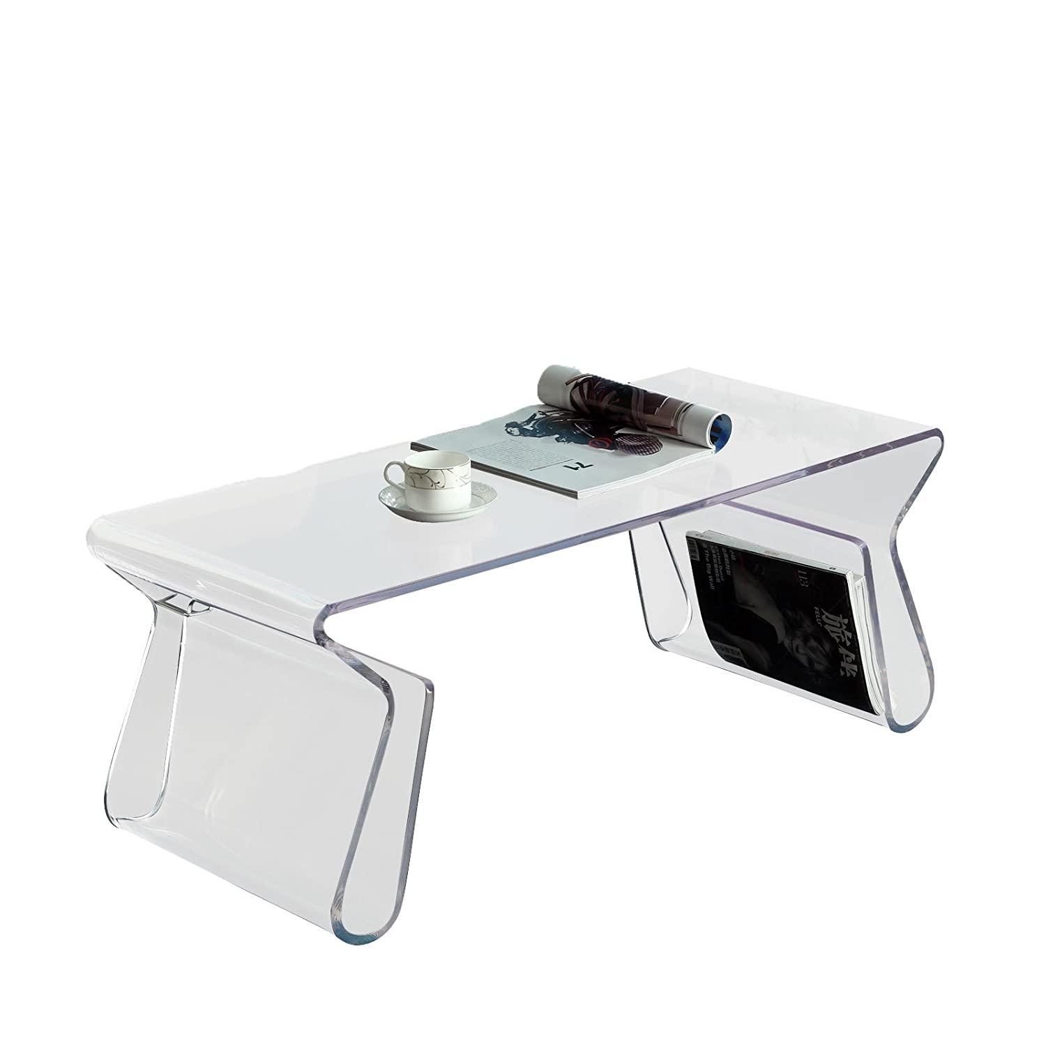 Attractive Amazon.com: Modway Magazine Coffee Table With Magazine Rack In Clear:  Kitchen U0026 Dining