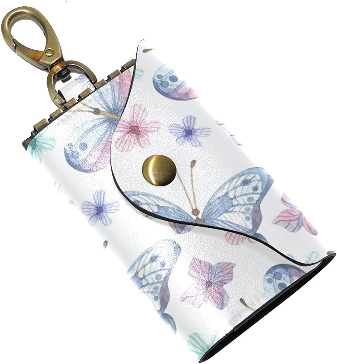 DEYYA Fresh Flowers Butterfly Leather Key Case Wallets Unisex Keychain Key Holder with 6 Hooks Snap Closure