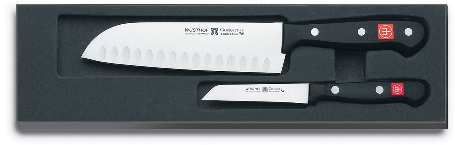 WÜSTHOF Gourmet Two Piece Asian Cook's Knife Set | 2-Piece German Knife Set with 7.5'' Santoku Knife & 3'' Straight Parer | Laser Cut High Carbon Stainless Steel Kitchen Knife Set Model 92-0-1-1 by Wüsthof