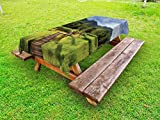 Lunarable Asian Outdoor Tablecloth, Wood Jetty in Rice Field During Raining Day Tropical Agriculture Plantation Summer, Decorative Washable Picnic Table Cloth, 58 X 104 inches, Apple Green