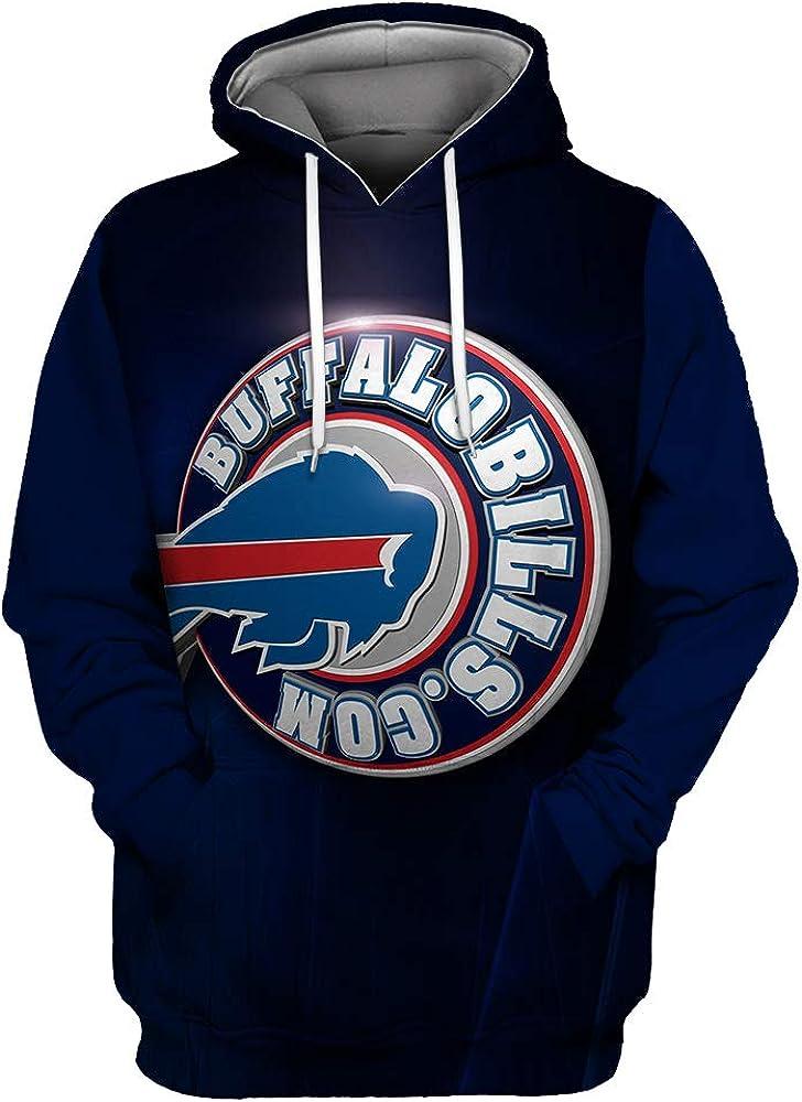 Mens Long Sleeve 3D Digital Print Football Team Buffalo Bills Couples Pullover Hoodies