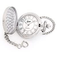 "Classic Smooth Pocket Watch with 14"" Chain, Silver Tone with White Dial in Gift Box – Engravable"