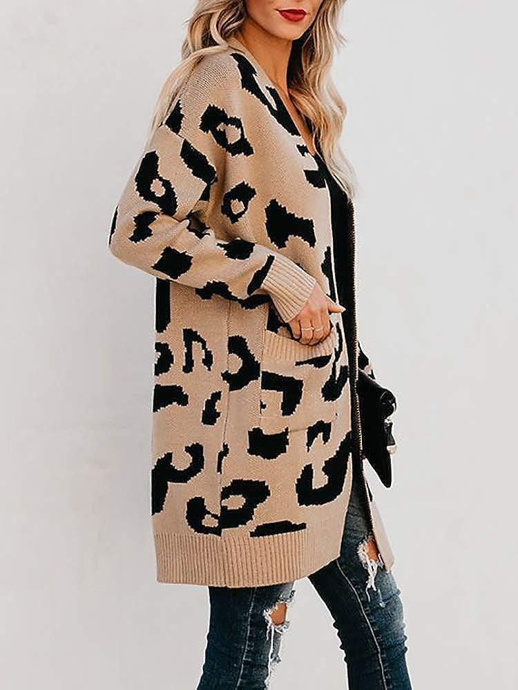 New Cozy Leopard Oversized Fuzzy Cardigan Sweater Top Boho Animal Print Vintage Inspired ~ Women/'s Small to XL