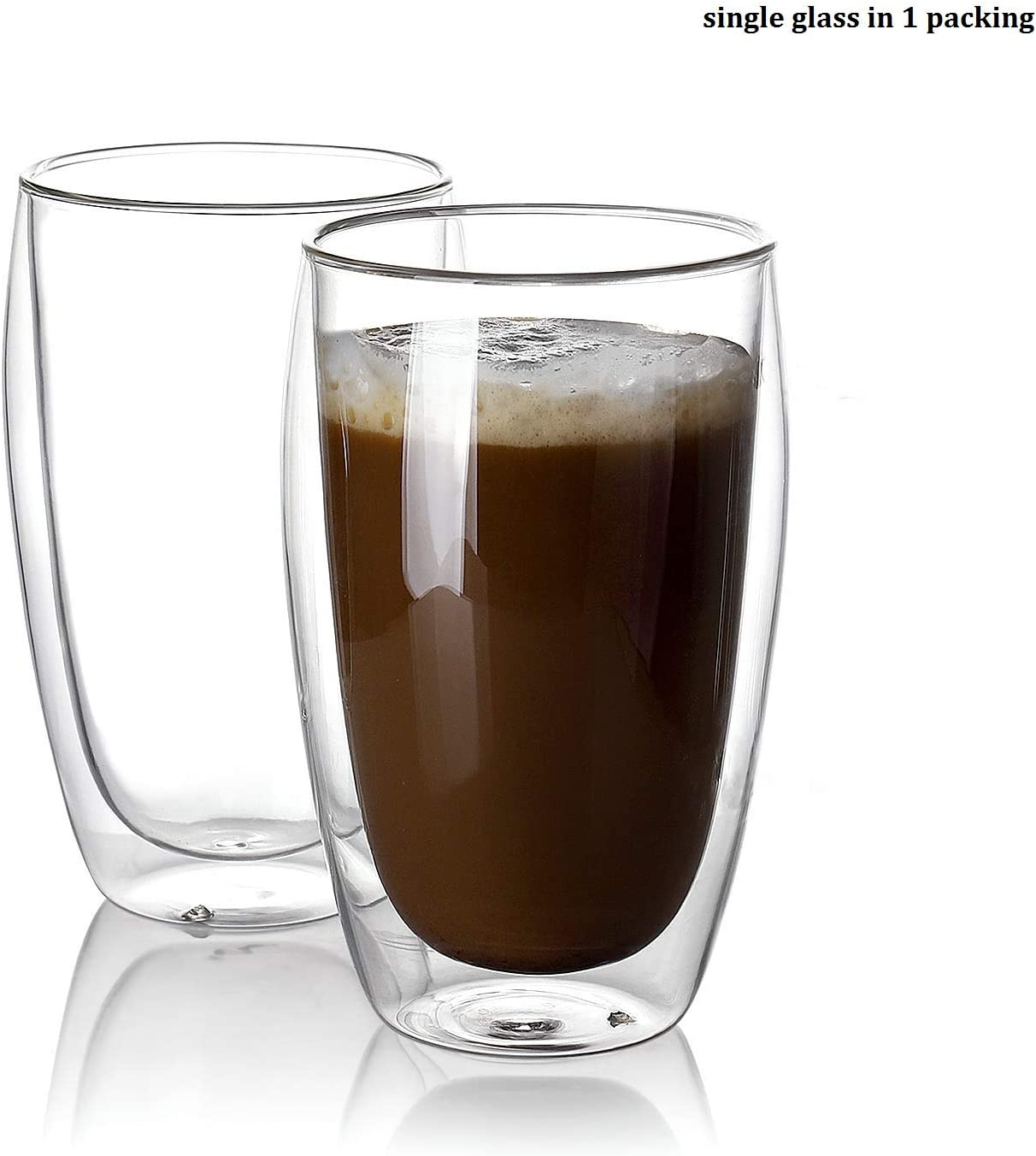 Borosilicate Walled Coffee/Tea/beverages Glasses Cup 15 oz - Double Wall Insulated Latte Glass Espresso Coffee Mugs 1 pc glass in 1 packing