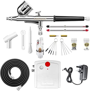0.2//0.3//0.5mm Gravity//Side Feed Dual-Action Airbrush Kit Set Art Paint Nail stp