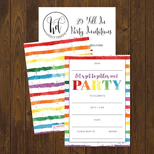 85OFF 25 Art Stripe Rainbow Party Invitations For Kids Teens Adults Boys Girls Blank Children Happy 1st Birthday Invitation Cards Unique Baby First