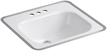 KOHLER K 2890 4 0 Tahoe Metal Frame Bathroom Sink, White