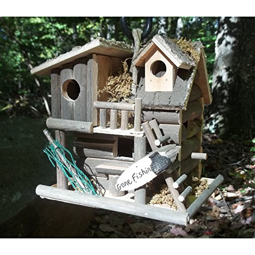 Hot Sale! BIRDHOUSE: Gone Fishing Wood Log Cabin Bird House NEW (Birdhouse Salt)
