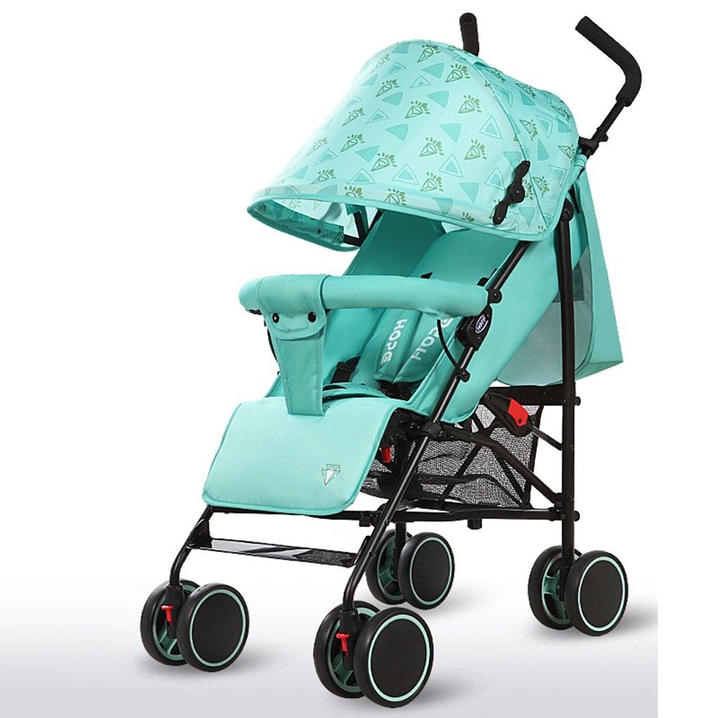 HAIZHEN マウンテンバイク プッシュプッシュプッシュ軽量Foldableは、子供のトロリーを横たえて座ることができますフルネットワーク換気調節可能な天井炭素鋼EVAフォームショックアブソーバーホイール赤ちゃんキャリッジ38 * 61 * 102cm 新生児 B07DRX7S27 緑 緑