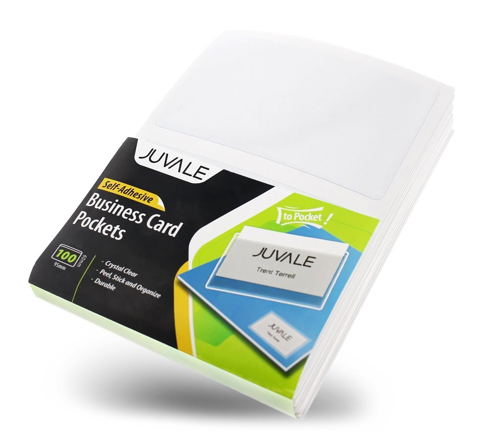 Amazon business card plastic sleeves self adhesive poly amazon business card plastic sleeves self adhesive poly pockets peel and stick business card holders top load card holders 100 pack office magicingreecefo Images
