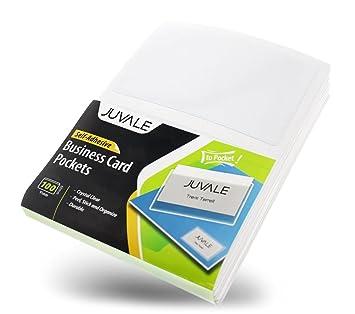 Amazon business card plastic sleeves self adhesive poly business card plastic sleeves self adhesive poly pockets peel and stick business card holders colourmoves Images