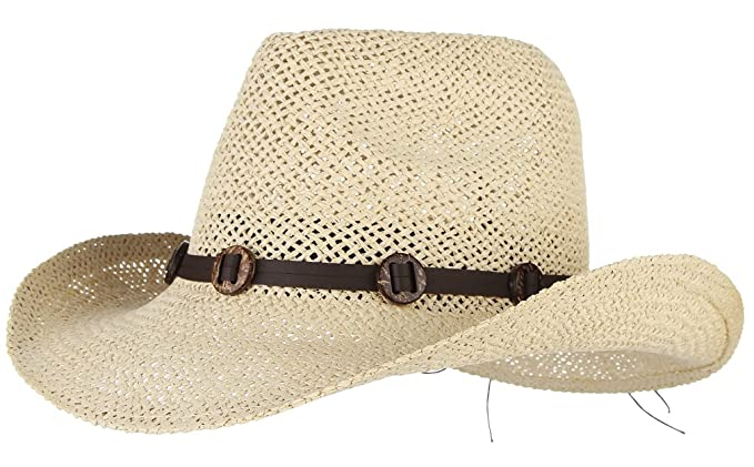 aa30f9c6c78 La Vogue Straw Hat Western Cowboy Hat for Men Wide Brim Sun Hat with Retro  Leather