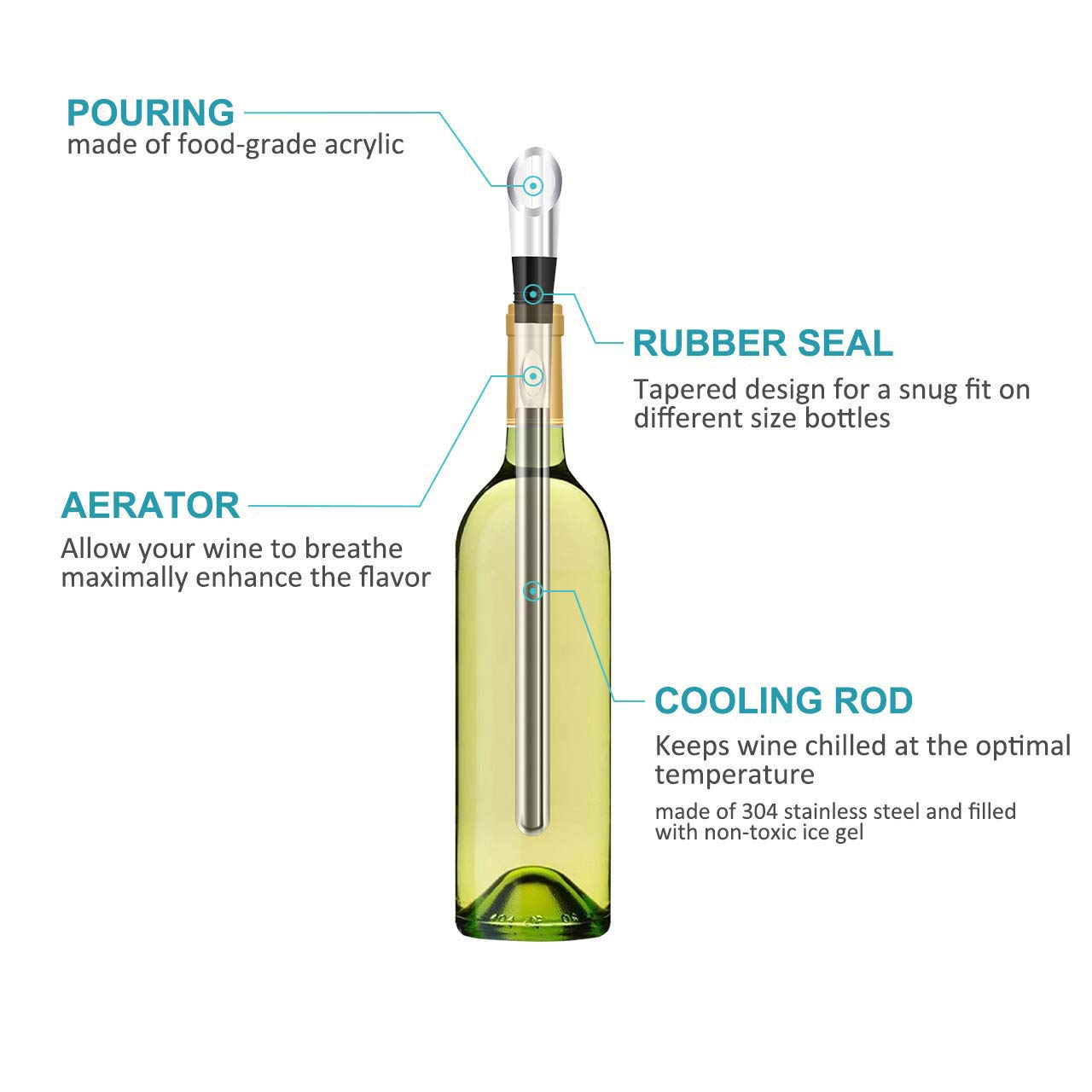 Wine Chiller Stick 3-in-1 Stainless Steel Wine Bottle Cooler Stick Wine Wand Perfect Wine Accessories Gift Rapid Iceless Wine Chilling Rod with Aerator and Pourer