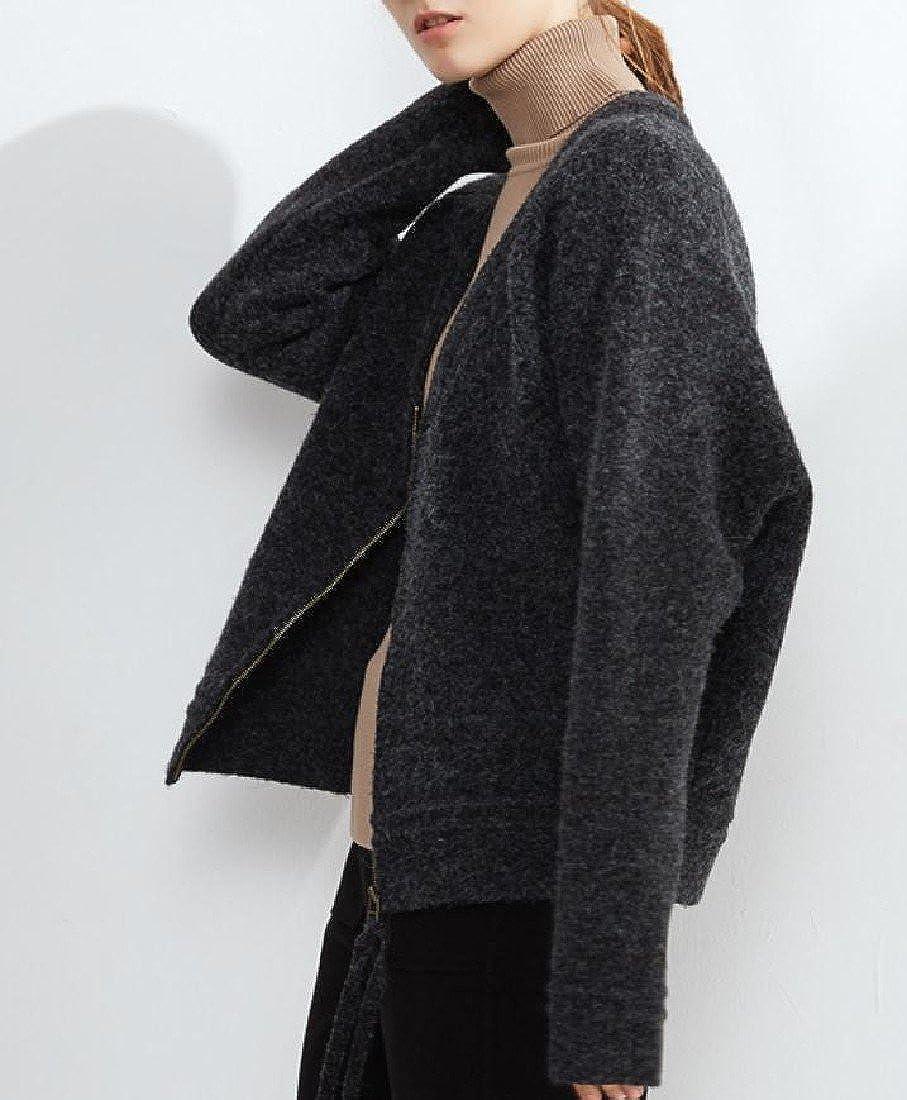 YUSKYWomen YUSKY Womens Chunky Zip-Front Baggy Loose Elegent Knit Down Tops