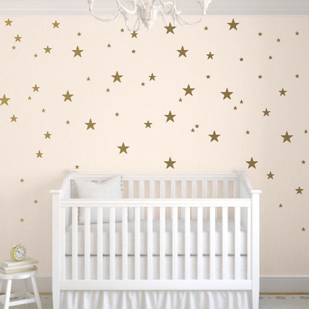 DCTOP Stars Wall Decals (124 Decals) Wall Stickers Removable Home Decoration Easy to Peel Stick Painted Walls Metallic Vinyl Polka Wall Decor Sticker for Baby Kids Nursery Bedroom (Gold Stars)