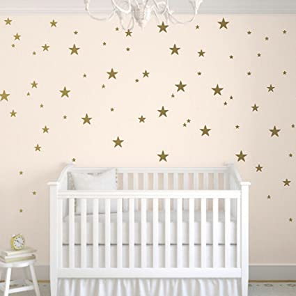 9435666f1a749 TOARTi Stars Wall Decals (124 Decals) Wall Stickers Removable Home  Decoration Easy to Peel Stick Painted Walls Metallic Vinyl Polka Wall Decor  Sticker ...