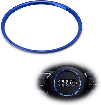 Anillo de la rueda de direcci/ón Aleaci/ón de aluminio del coche Cubierta del anillo del volante Ajuste para Audi A1 A3 A4 A5 A6 Q3 Q5 Color : Azul