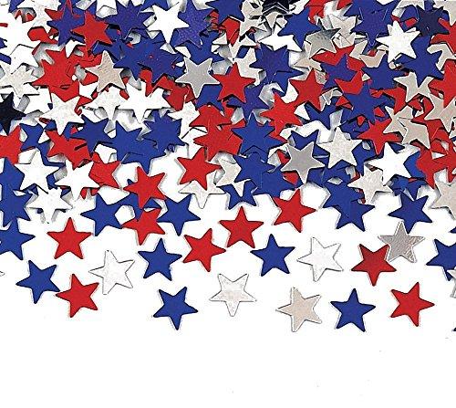 Creative Converting Metallic Star Confetti, Red, White and B