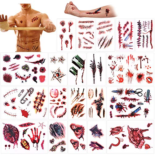 Halloween Temporary Tattoos (132Designs), Konsait Scar Wound Blood Bleeding Tattoo Stickers for Halloween Party Cos Play Costume, Waterproof Easy to Apply Long Lasting Fake Tattoos for Women Kids Man -