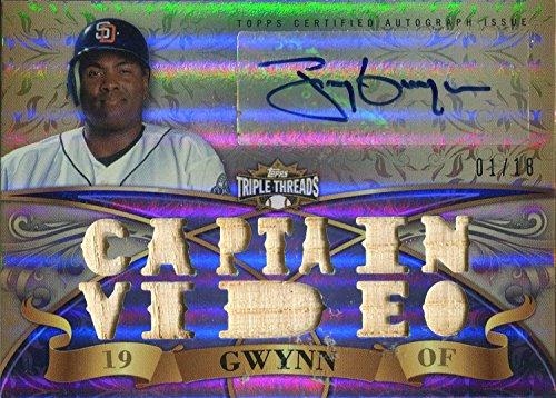 Tony Gwynn Bat - Tony Gwynn Autographed 2013 Topps Triple Threads Bat Card