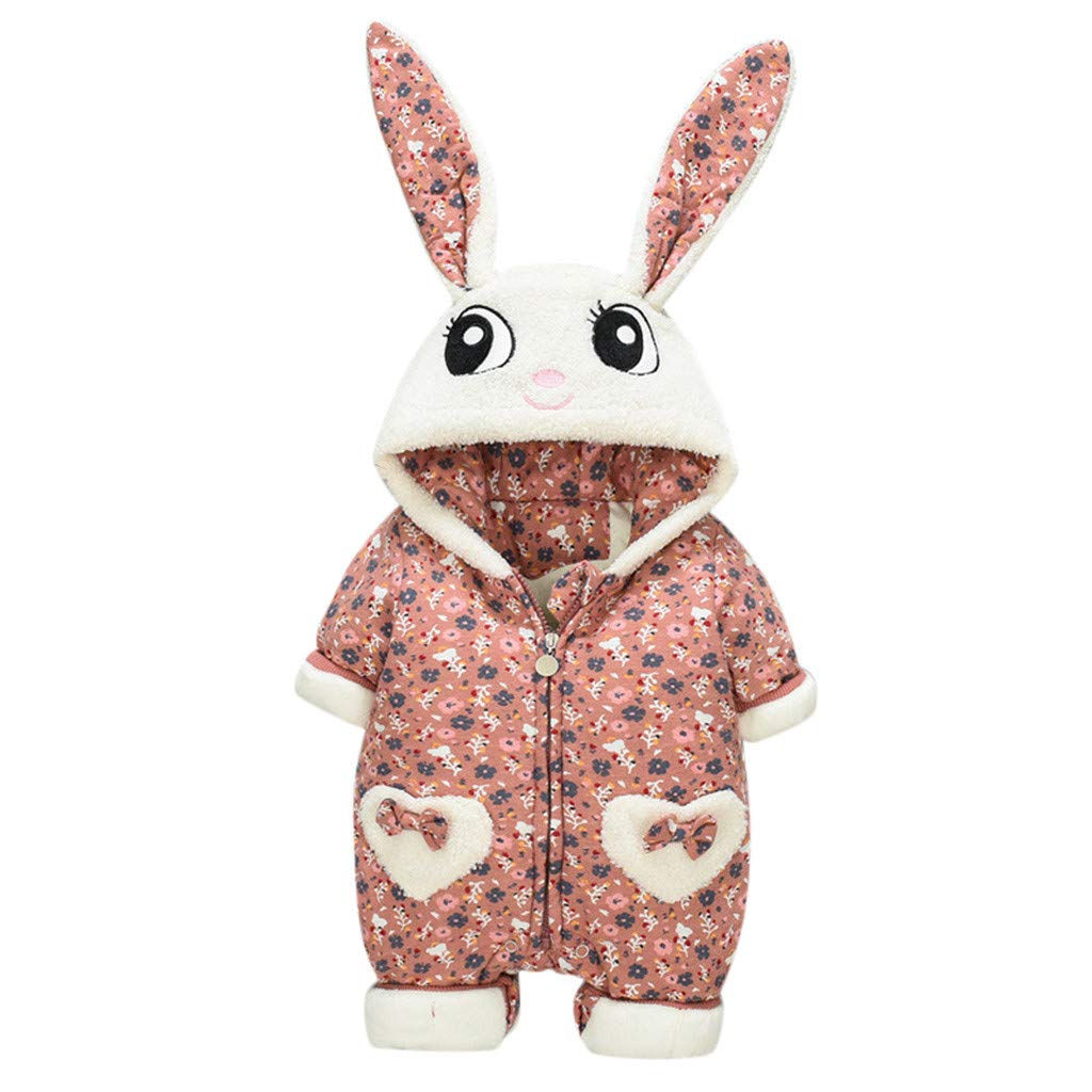 1KTon Newborn Infant Boys And Girls Thicken Long Sleeve Floral Ruffle Romper Frills Jumpsuit Playsuit Outfits by 1KTon