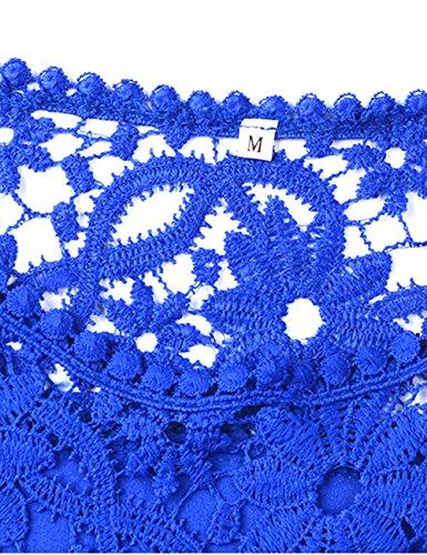 Shinkoo®Donne Taglia Camicia Manica Tops Blue Dark Grossa Lunga Caduta Ricamo Chiffon AA6waH
