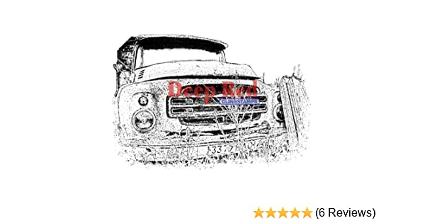 Deep Red Rubber Cling Stamp Rusty Truck Grill Vintage Inspired