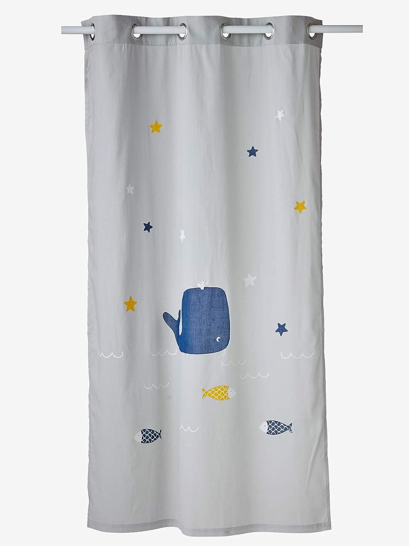 VERTBAUDET Cortina Visillo balein Agua, algodón, Gris, 105X240: Amazon.es: Hogar