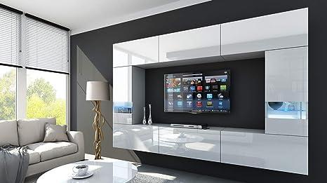 HomeDirectLTD Future 29, Conjunto de Muebles De Salón, Módulo Bajo para TV Y Multimedia, Unidad de Entretenimiento, Mueble TV, Suite a Estrenar ...