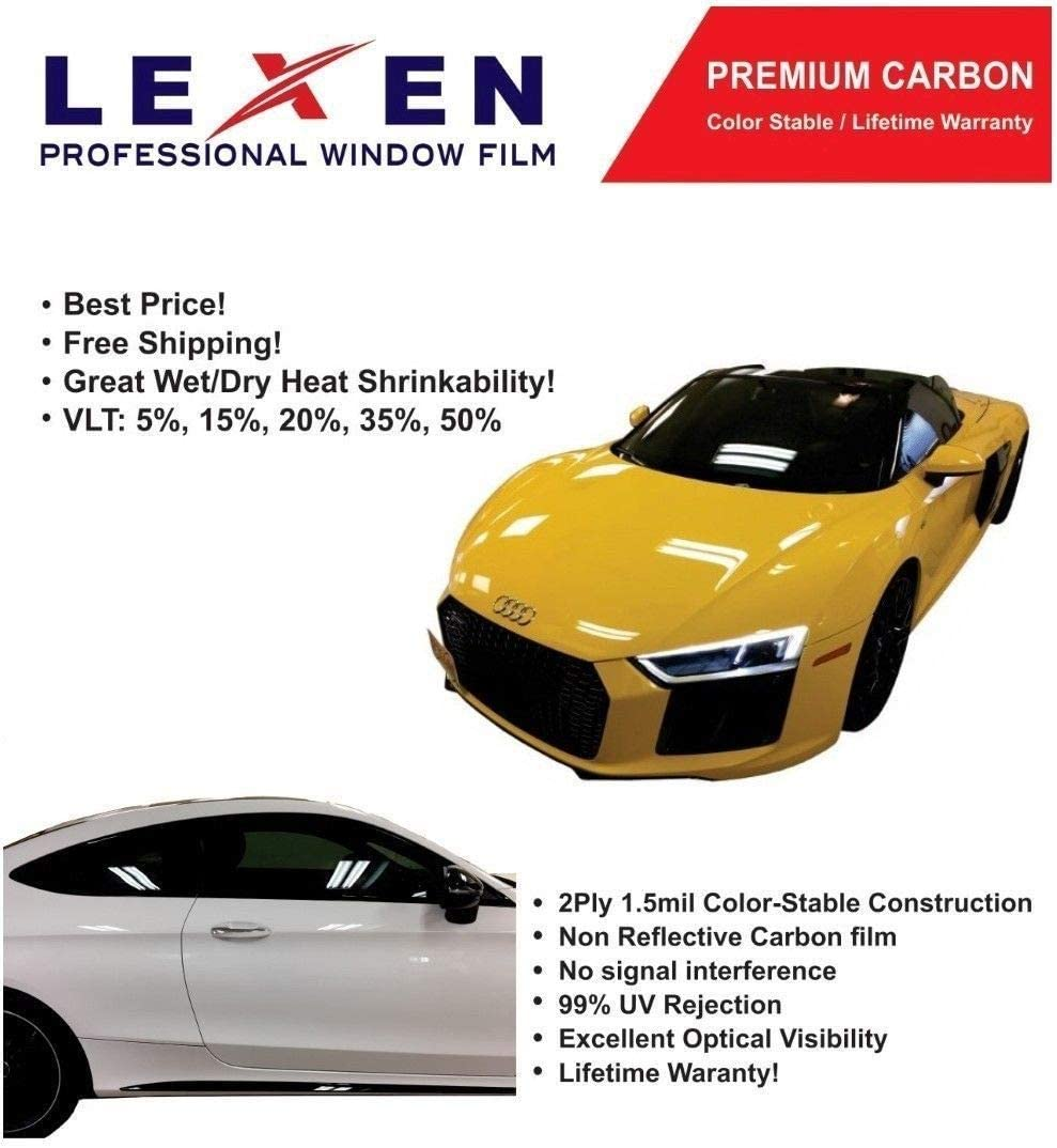 LEXEN 2PLY 36 x 10 Premium Carbon Window Tint Film Roll 50/% Light Shade