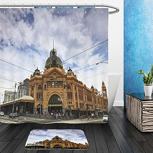 [Vanfan Bathroom 2Suits 1 Shower Curtains & 1 Floor Mats melbourne city historic building flinders station railway victoria colonial style yellow bricks 95452405 From Bath room] (Baby Costumes Melbourne)