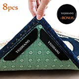 YIQIHANG 8 Pcs Reusable Rug Grippers By Premium Anti Curling Rug Gripper, Flattens Throw Rug Corners Instantly And Stops Rug Slipping.Rug Stopper Keeps Area Rug in Place & Makes Corners Flat. Carpet