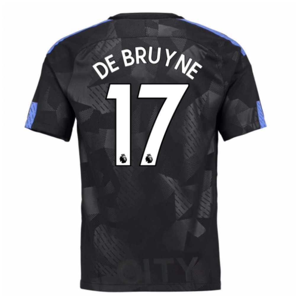 2017-18 Man City Third Football Soccer T-Shirt Trikot (Kevin De Bruyne 17) - Kids